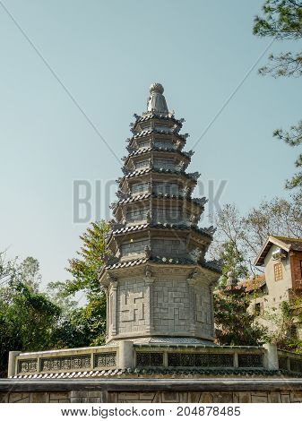 Hue, Vietnam - September 13 2017: The Thien Mu Pagoda is one of the ancient pagoda in Hue city. It is located on the banks of the Perfume River in Vietnam's historic city of Hue in Vietnam.