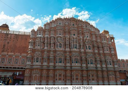 JAIPUR RAJASTHAN INDIA - MARCH 11 2016: Front picture of Hawa Mahal in Jaipur known as pink city of Rajasthan in India.