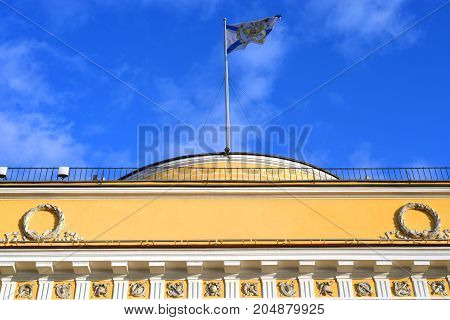 Fragment of building of the main Admiralty in St.Petersburg Russia.