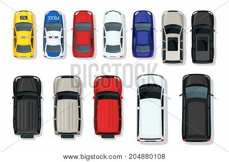 Set Of Vector Cars Top View. Flat Style City Transport. Vehicle Icons Isolated. Multicolor Car Illus