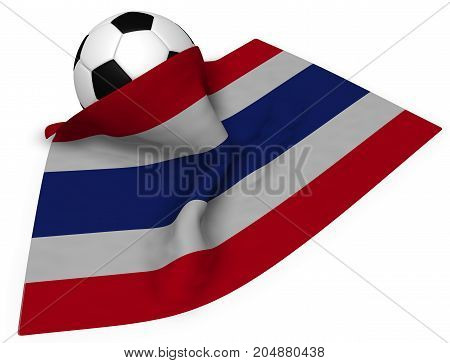 soccer ball and flag of thailand - 3d rendering