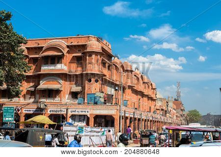 JAIPUR RAJASTHAN INDIA - MARCH 11 2016: Horizontal picture of beautiful architecture store in Jaipur known as pink city of Rajasthan in India.