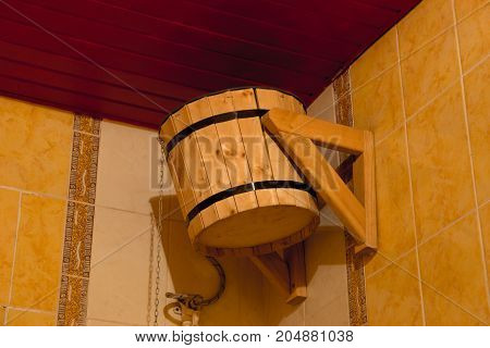 Wooden bucket for bath or sauna or shower