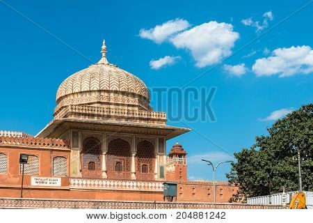 JAIPUR RAJASTHAN INDIA - MARCH 11 2016: Horizontal picture of beautiful architecture Tripolya Bazar in Jaipur known as pink city of Rajasthan in India.