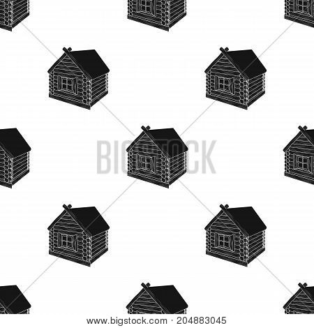 Wooden log cabin. Hut architectural structure single icon in black style vector symbol stock illustration .