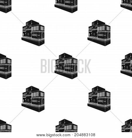 Typical Scandinavian building. Architectural construction single icon in black style vector symbol stock illustration .
