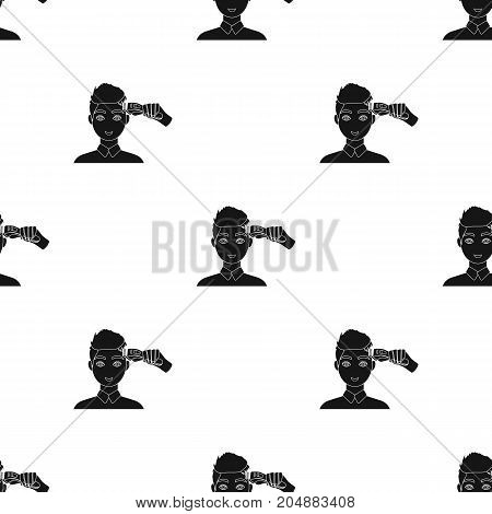 Cutting a boy with an electric typewriter in a hairdresser. Haircut single icon in black style vector symbol stock illustration .
