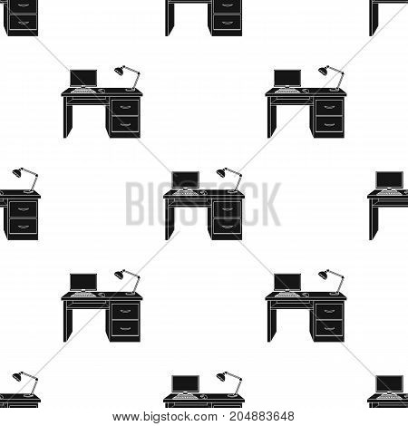 A desk with a computer and a desk lamp. Furniture and interior single icon in black style Isometric vector symbol stock illustration .