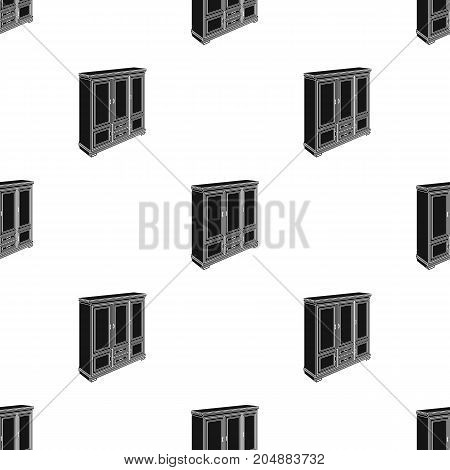 Cabinet with glass doors and drawers. Furniture and interior single icon in black style vector Isometric symbol stock illustration .