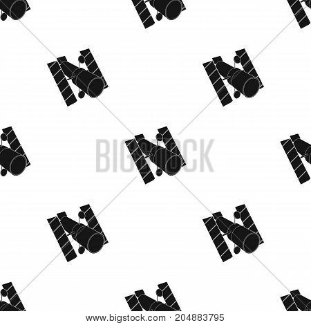 Space station in orbit. Space technology single icon in black style vector symbol stock illustration .
