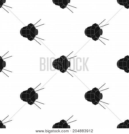 Artificial, space satellite of the Earth. Space technology single icon in black style vector symbol stock illustration .