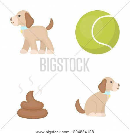 Dog sitting, dog standing, tennis ball, feces. Dog set collection icons in cartoon style vector symbol stock illustration .