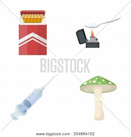 Cigarettes, a syringe, a galoyucinogenic fungus, heroin in a spoon.Drug set collection icons in cartoon style vector symbol stock illustration .
