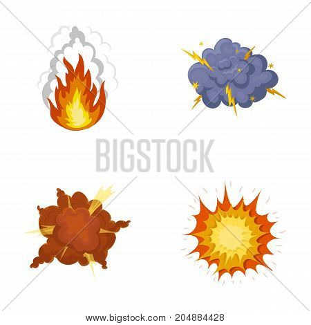 Flame, sparks, hydrogen fragments, atomic or gas explosion, thunderstorm, solar explosion. Explosions set collection icons in cartoon style vector symbol stock illustration .