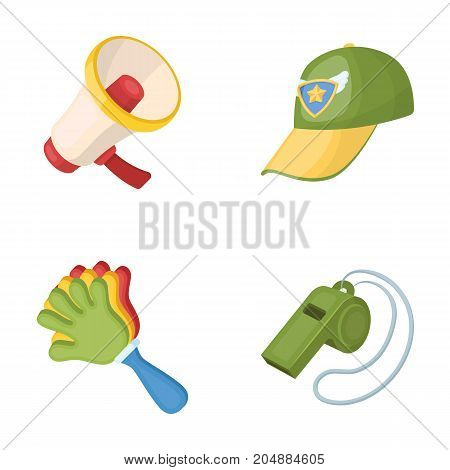 Megaphone, whistle and other attributes of the fans.Fans set collection icons in cartoon style vector symbol stock illustration .