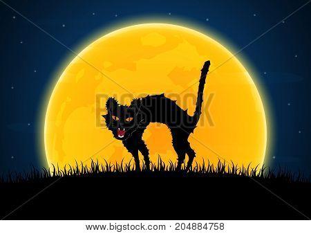 Halloween Growl Black Cat Moon Graveyard