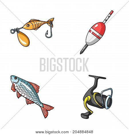 Fishing, fish, catch, hook .Fishing set collection icons in cartoon style vector symbol stock illustration .