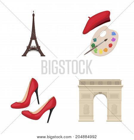 Eiffel tower, brush, hat .France country set collection icons in cartoon style vector symbol stock illustration .