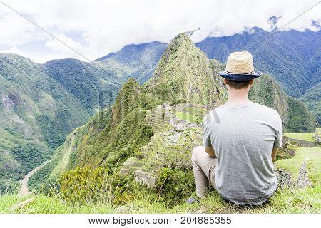 The Machu Picchu beautiful mountain in perou