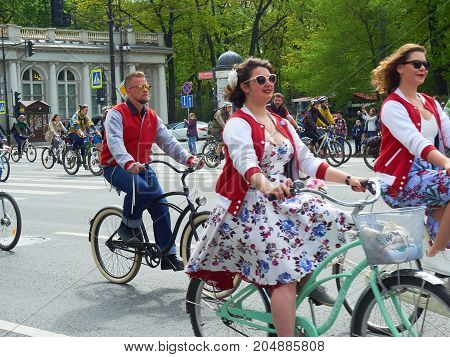 St. Petersburg Russia - May 28 2017: People ride bicycles in the center of St. Petersburg. Participants of the bicycle parade in St. Petersburg Russia