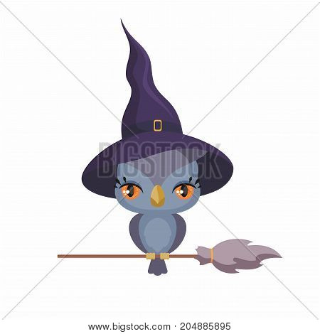 Little cute owl in a witch hat in a cartoon style. Children's illustration on white background.