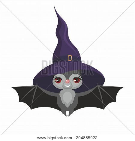 Little cute bat in a witch hat in a cartoon style. Children's illustration on white background.