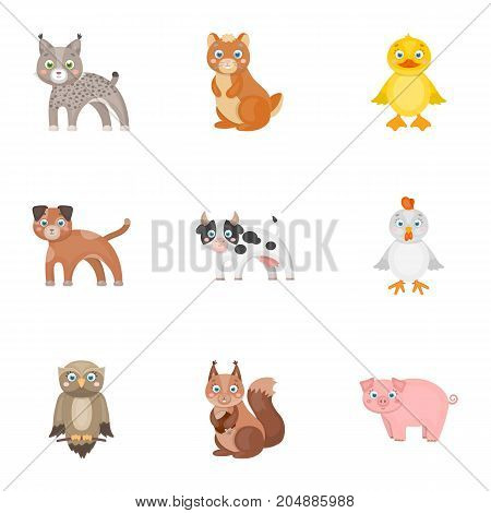 Farm, production, zoo and other  icon in cartoon style. Animals, nature, forest