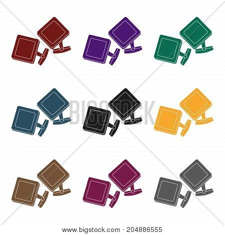 Cufflinks icon in black style isolated on white background. Jewelry and accessories symbol vector illustration.