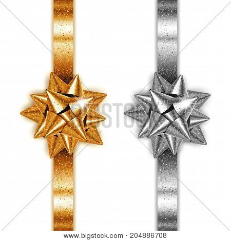 Golden and silver realistic gift bows with ribbons on white background. Vector illustration