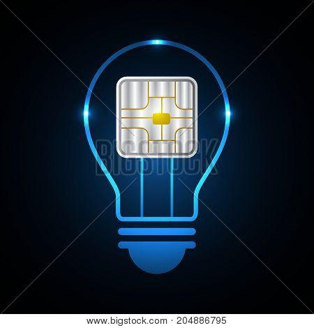 Technology Future Light Bulb Card Chip