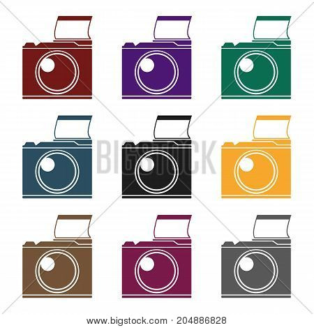 Photocamera icon in black design isolated on white background. Picnic symbol stock vector illustration.