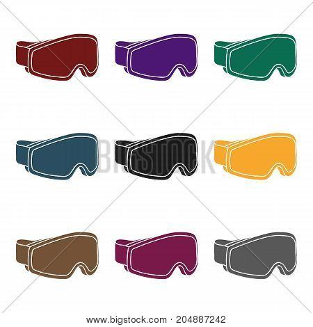 Ski goggles icon in black style isolated on white background. Ski resort symbol vector illustration.