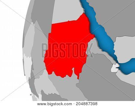 Map Of Sudan On Political Globe