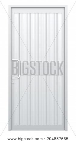 Vector illustration of aluminium door and chrome door handle isolated on white background.