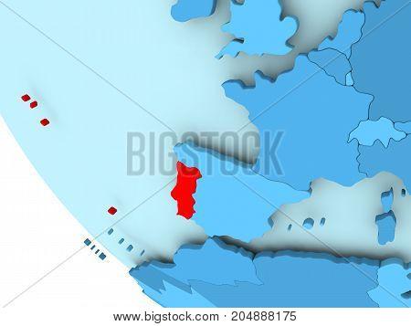 Portugal On Blue Political Globe