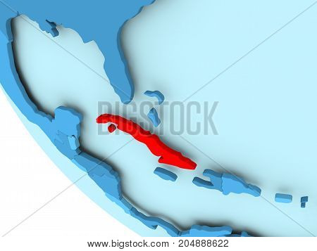 Cuba On Blue Political Globe