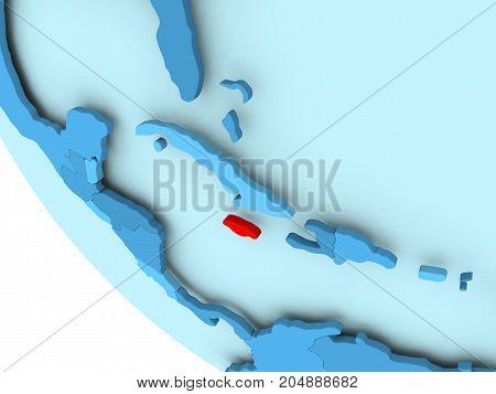 Jamaica On Blue Political Globe