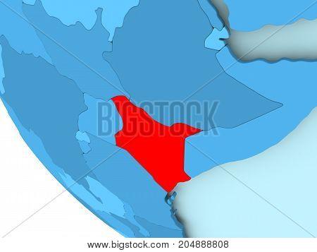 Kenya On Blue Political Globe