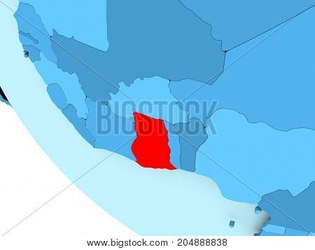 Ghana On Blue Political Globe