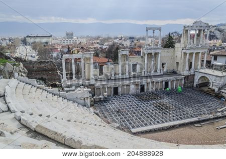 Remains of a Roman theater in one of the oldest cities of Europe if not the most and now second city of Bulgaria Plovdiv