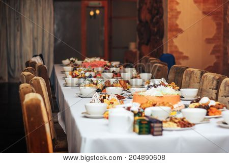 Tea Table With Sweets On Wedding