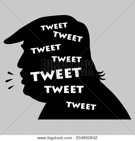 Donald Trump Tweets. Vector Illustration Silhouette. September 20, 2017