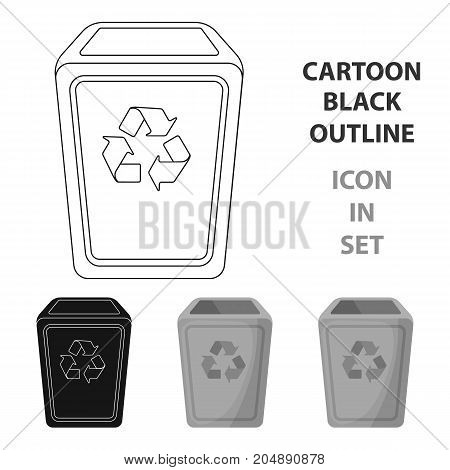 Garbage can icon in cartoon style isolated on white background. Trash and garbage symbol vector illustration.