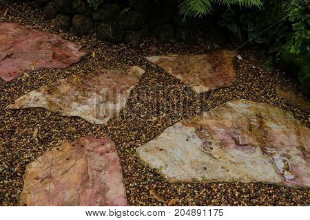 Walkway stone in garden for background .