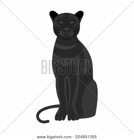 Panther, predatory animal. Pantera, wild cat single icon in monochrome style vector symbol stock illustration .