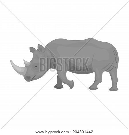 A large Indian rhinoceros. A wild animal, a rhinoceros single icon in monochrome style vector symbol stock illustration .