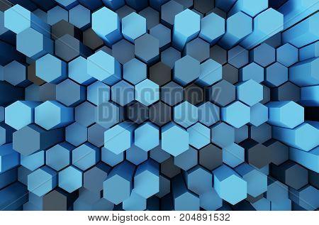 Blue Hexagon pattern 3d rendering by software