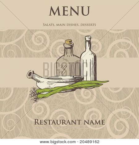 Vintage restaurant menu design with hand drawn illustration of pan onion and wine bottles