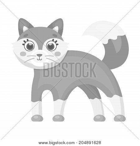 Fox, single icon in monochrome style.Fox, vector symbol stock illustration .