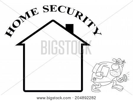 Representation of home security isolated on white background